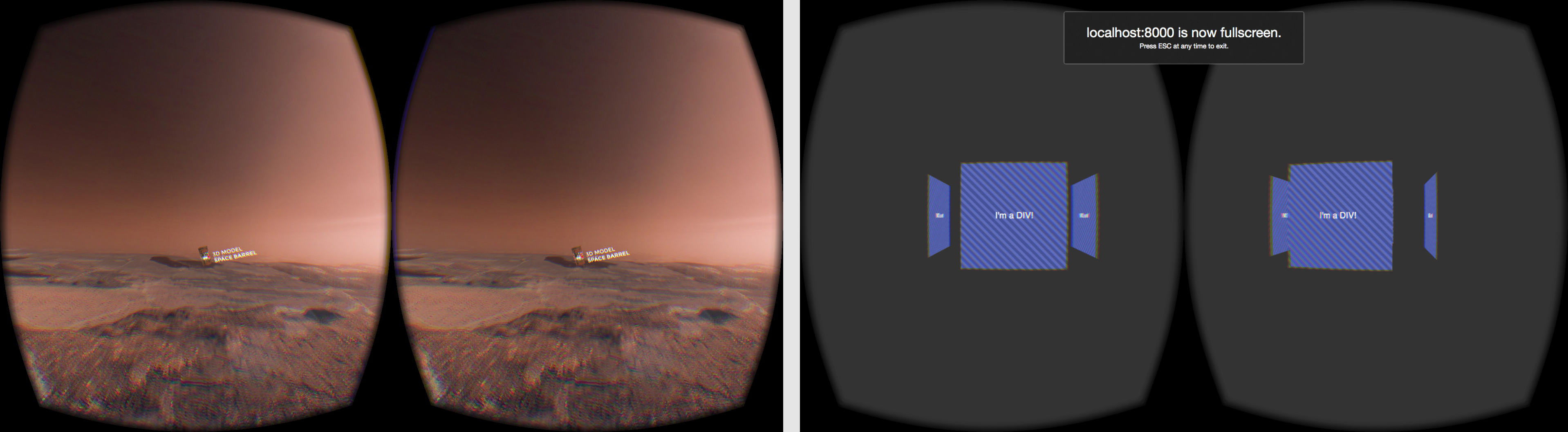 Early CSS-VR experiments showing s rendering into the Oculus Rift headset