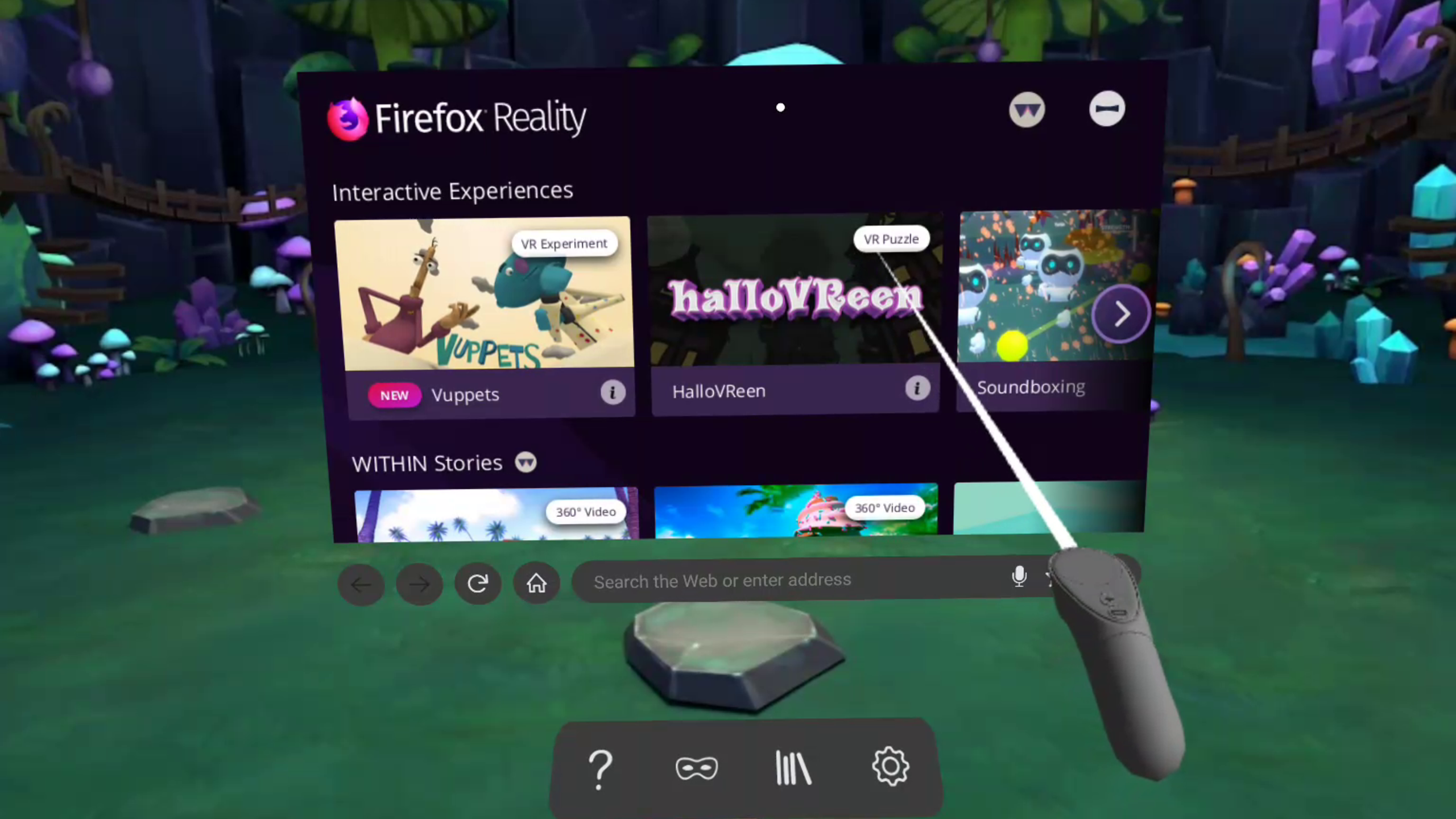 Firefox Reality web browser using Oculus Go headset